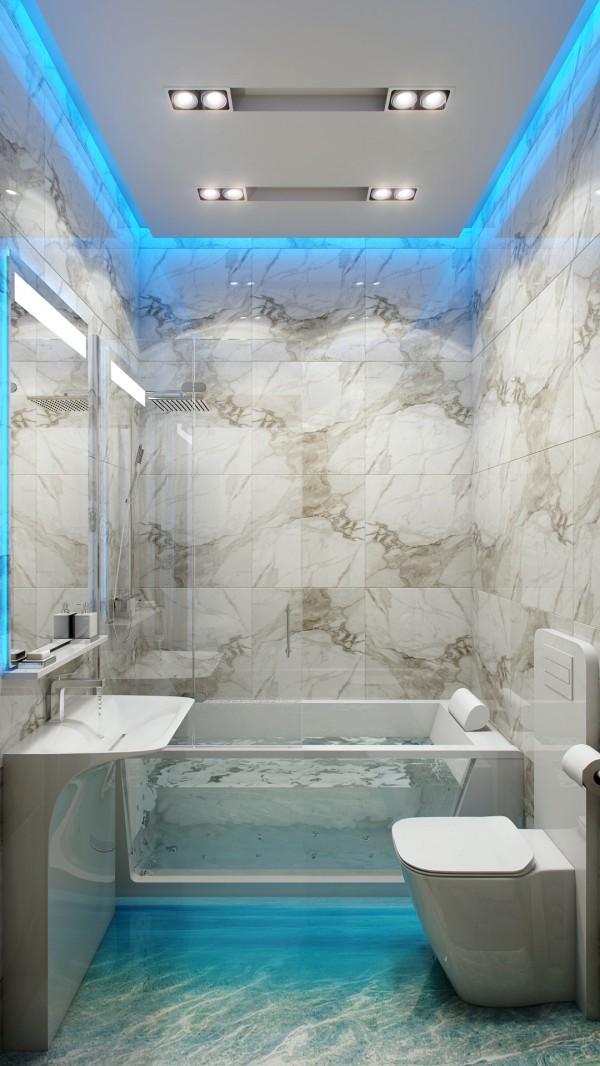 Fürdőszoba mennyezet rejtett világítással - Díszléc és LED lámpa ...