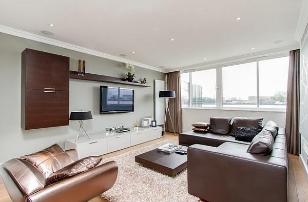 Modern nappalik kör alakú álmennyezeti spotokkal - Díszléc és LED ...