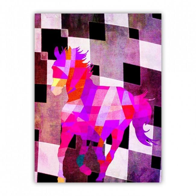 1d476b435fe4 Színes ló geometrikus alakzatokból nyomtatva, vászon hatású táblára.