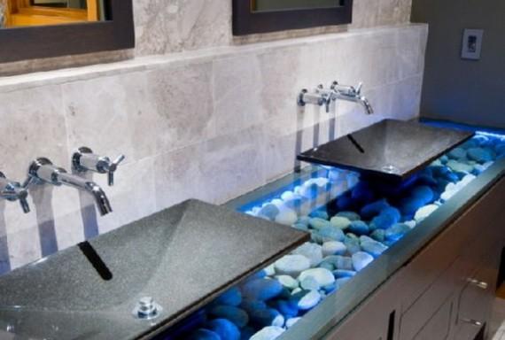 Szürke fürdőszoba hangulatjavító LED fénnyel - Díszléc és LED ...