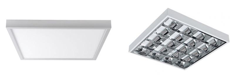 A kiemelő keretbe szerelt LED panel hasonlít a tükrös fénycsöves lámpatesthez
