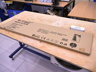 V-TAC 120 cm LED panel és tápegység doboza, kicsomagolása