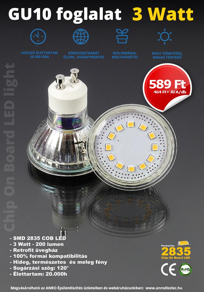 Júniusi GU10 LED lámpa akció.