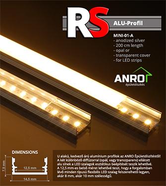 Alacsony árú alu U profilok LED szalaghoz