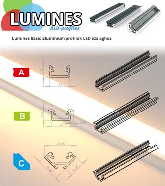 Lumines alumínium profilok LED szalaghoz