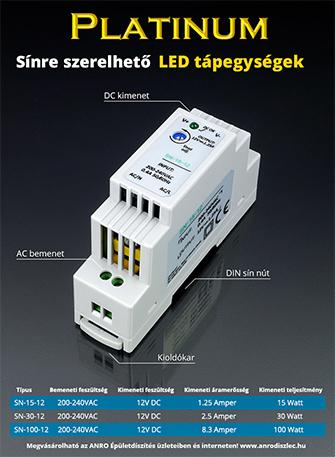 Sínre szerelhető LED tápegységek (12V DC)
