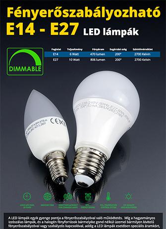 Dimmelhető E14-es és E27-es LED lámpák