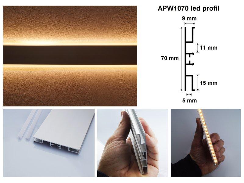 LED profil keskeny LED szalaghoz, fel-le világító dekorációs világításhoz