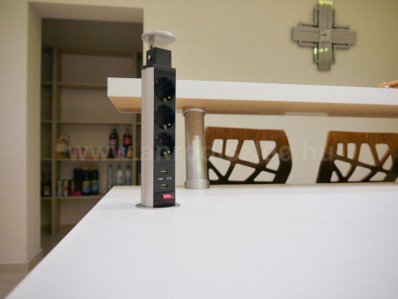 Modern konyhasziget munkalapba épített kör alakú elosztóval