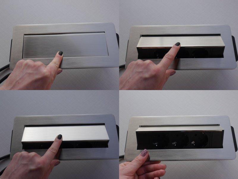 Szálcsiszolt rejtett elosztó flip-up, push to open - a felnyitás menete