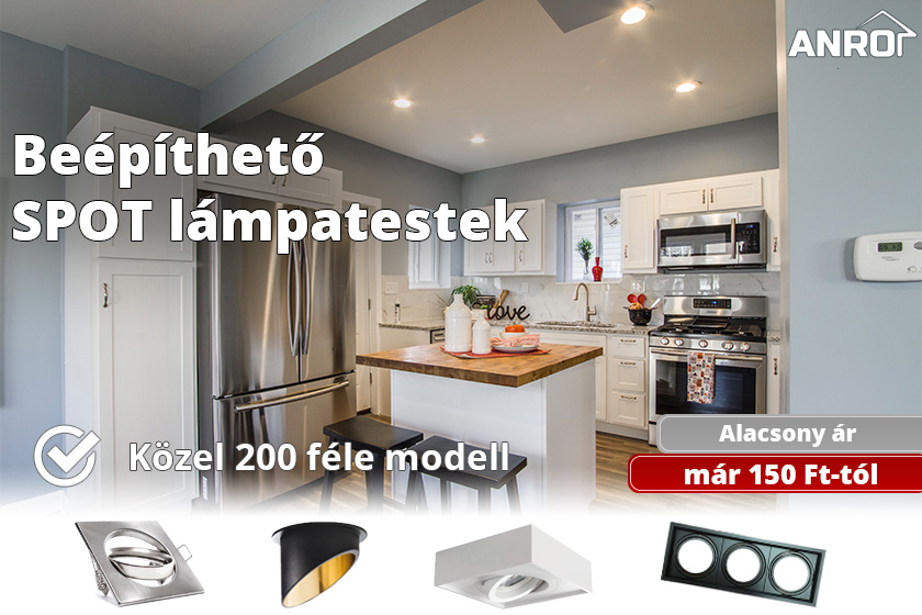 Beépíthető spot lámpatestek már 150 forinttól!