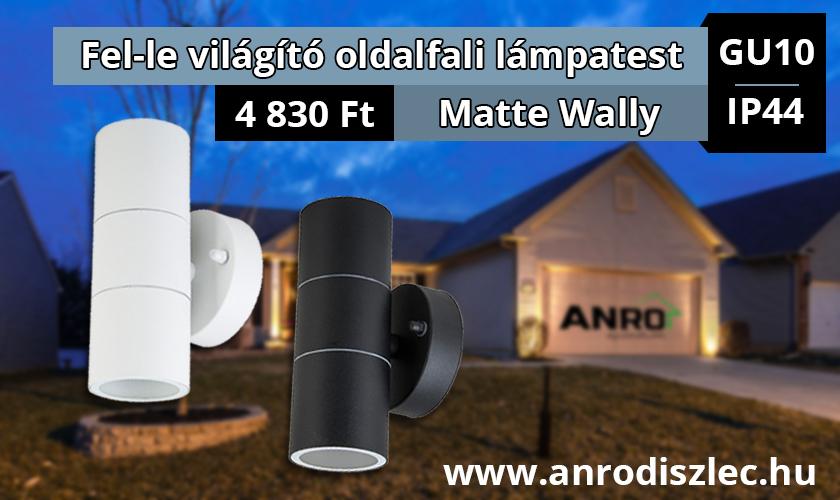 Matte Wally - oldalfali fel-le világító lámpatest fekete és fehér színben