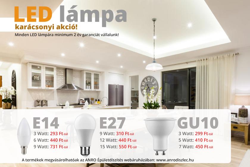 GU10 LED lámpák széles kínálata az ANRO-nál!