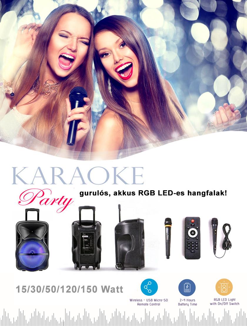 Gurulós Karaoke hangfalak RGB világítással!