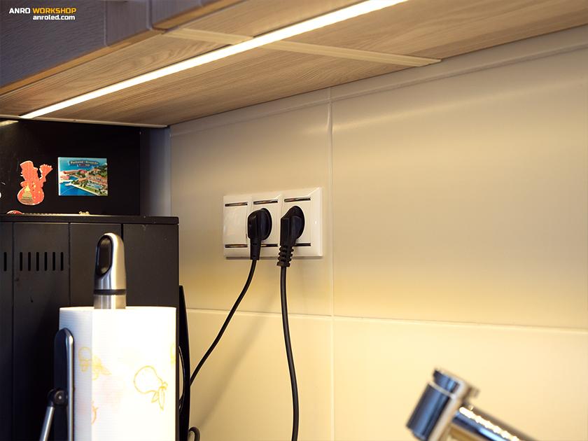 A kapcsolókat próbáljuk meg minél közelebb helyezni a használati ponthoz: LED pultvilágítás, kapcsolója ott van alatta.