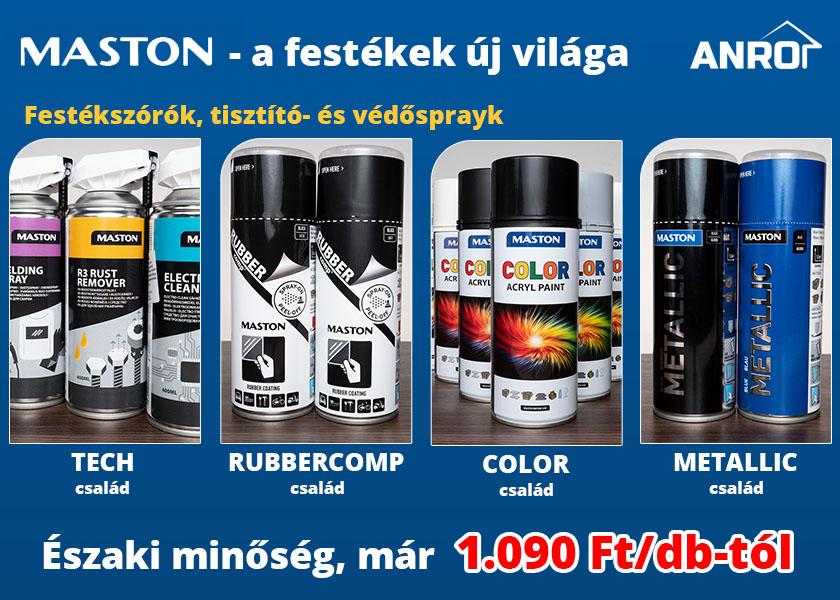 Maston termékek raktárról: festékszók, tisztító- és védősprayk széles kínálata az ANRO-nál!