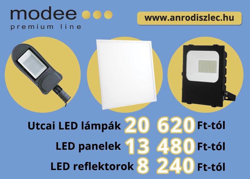 Kiemelkedő minőségű Modee Premium Line termékek: LED reflektorok, csarnokvilágítók, LED panelek és utcai lámpák.