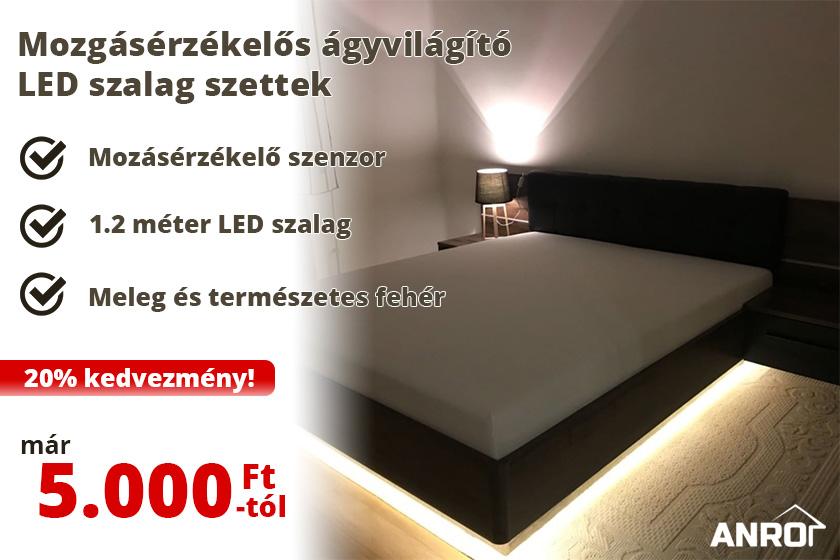 Mozgásérzékelős ágyvilágító LED szalag szettek 20% kedvezménnyel!