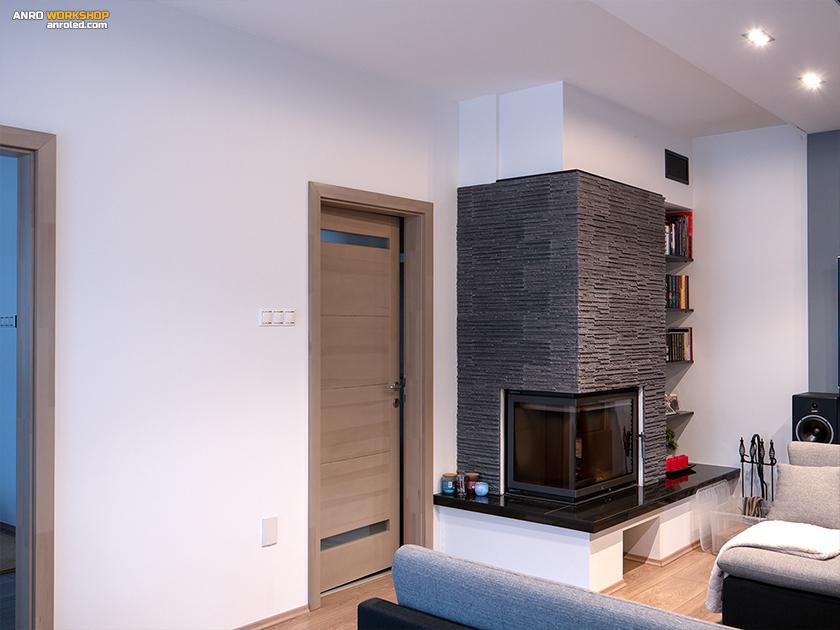 A nappali egyik kapcsolósora: fővilágítás, rejtett világítás és a fürdőszoba fényeeinke kapcsolása.