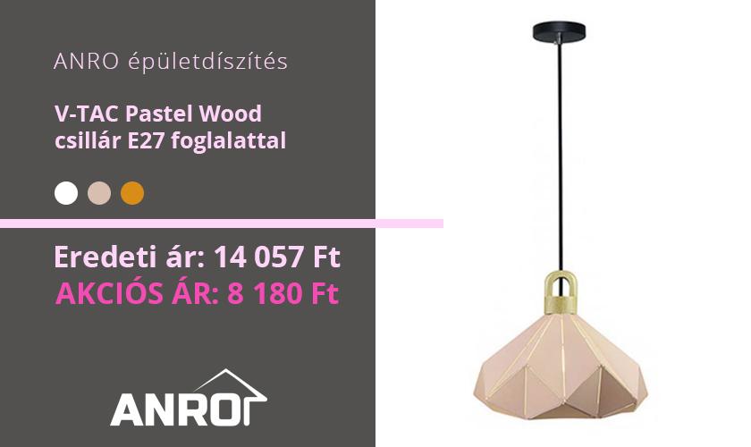 V-TAC Pastel Wood modern csillár