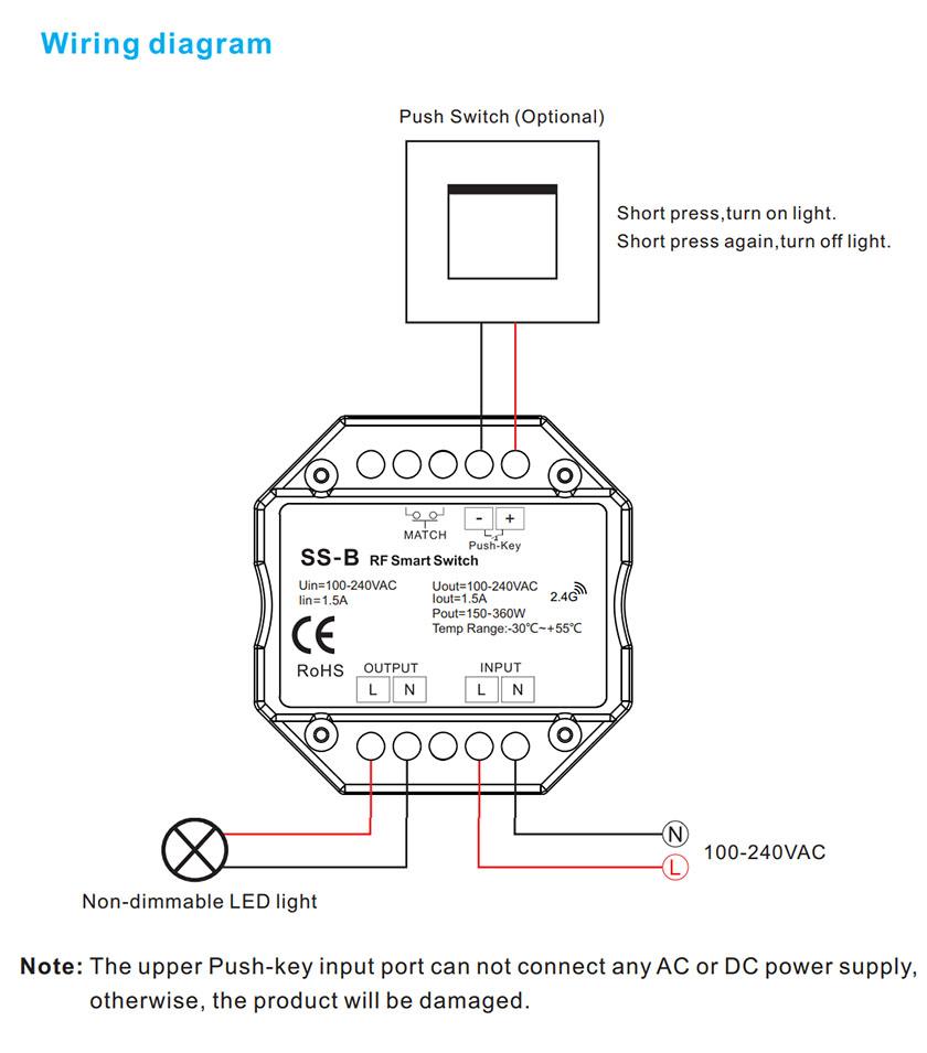 SS-C LED vevőegység bekötési rajz