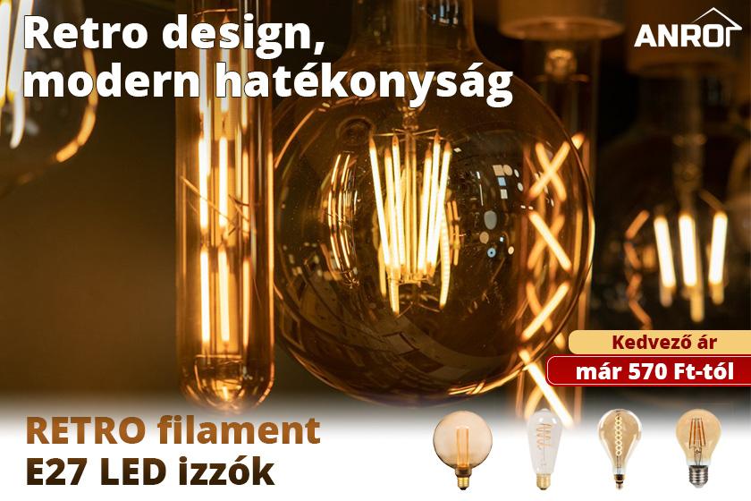 Exkluzív megjelenésű retro filament LED izók, kedvező áron!