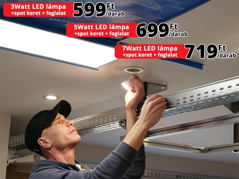 Kiemelt akció: 3Watt LED lámpa + keret + foglalat: 599 Ft!