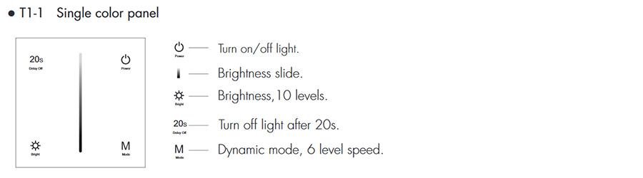 SD T1-1W Fali LED fényerőszabályzó, érintésérzékeny használata, programok