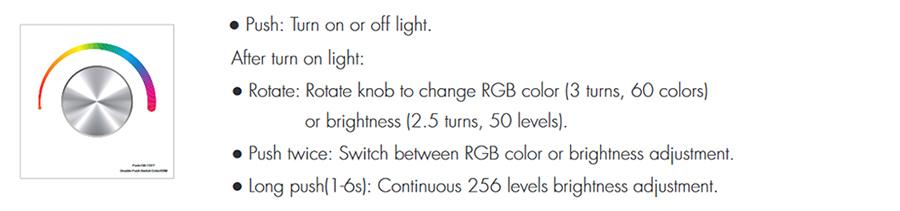 SD T3-KW Fali LED fényerőszabályzó, forgatógombos használata, programok