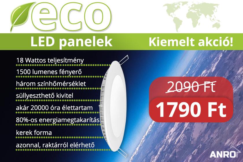 18 Wattos süllyeszthető LED panel akció
