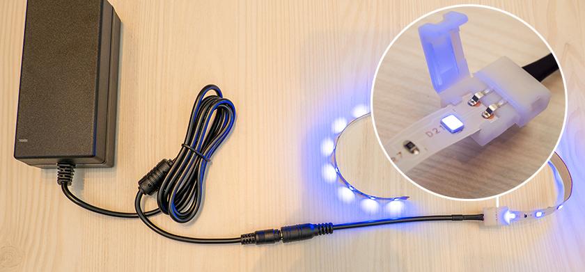 LED szalag vágása esetén kialakult szakaszok azonnali csatlakoztatása a LED tápegységhez