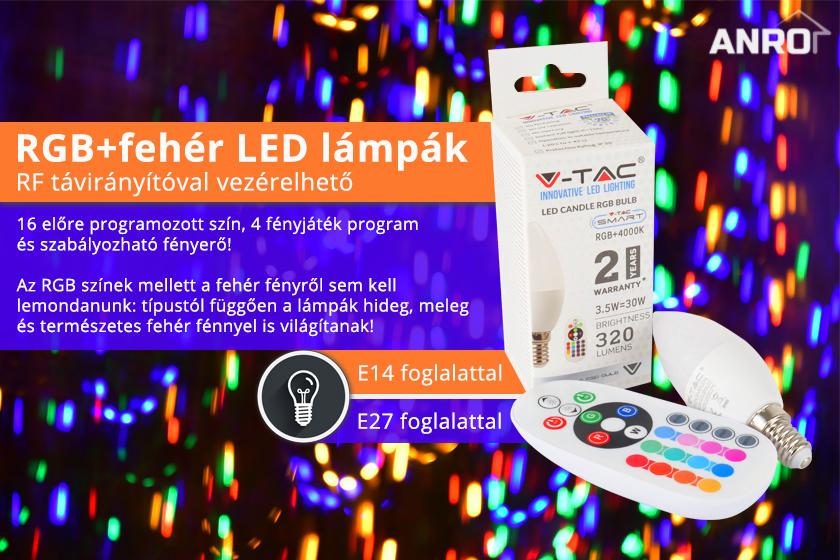 RGB+fehér LED lámpák távirányítóval