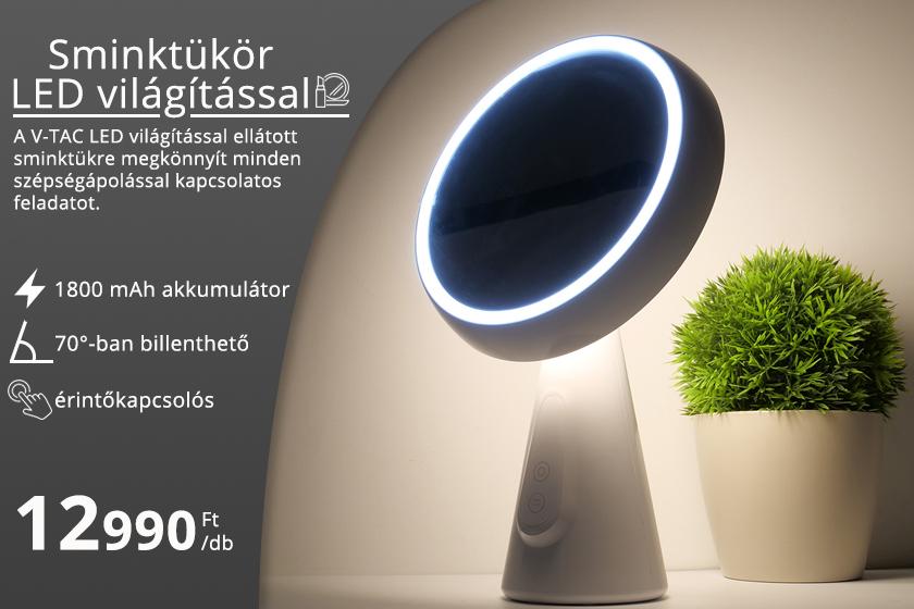 LED világítással ellátott sminktükör