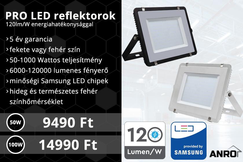 Nagy energiahatékonyságú LED reflektorok