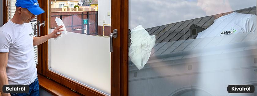 Homokszórt üvegfólia ajtóra, ablakra