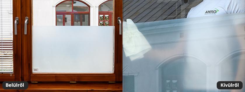 Homokszórt, savmart felületű üvegfólia