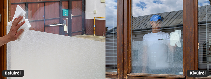 Ablak - üveg fólia fehér vízcseppekkel