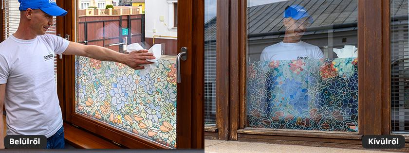 Kék tulipán mozaiküveg fólia, ajtó - ablaküveg fóliázáshoz