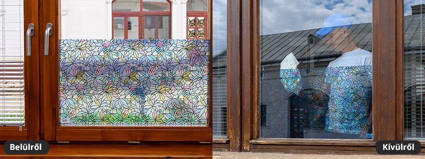 Szőlőlevél mintás üvegfólia ajtóra, ablakra