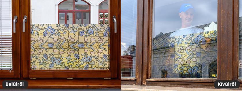 Haragvirág mintás mozaiküveg fólia, ablakra, ajtóra