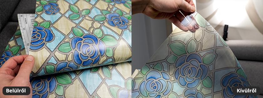 Kék, virág mintás mozaik üveg fólia