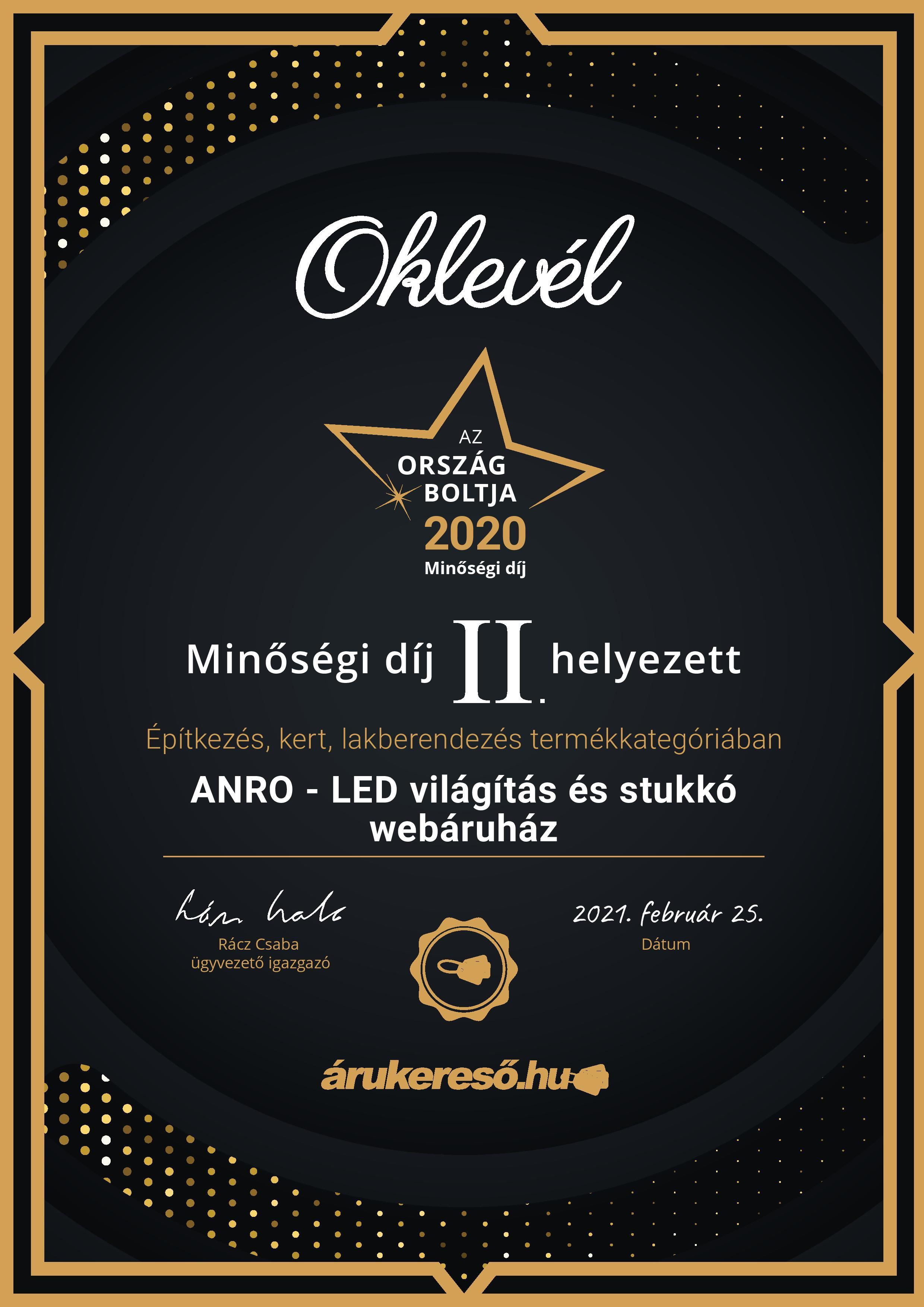Ország Boltja 2020: Minőségi díj II. helyezés az ANRO Webáruház részére!