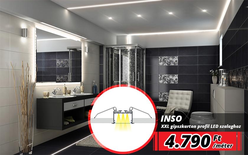 INSO nagy méretű alu profil LED szalaghoz