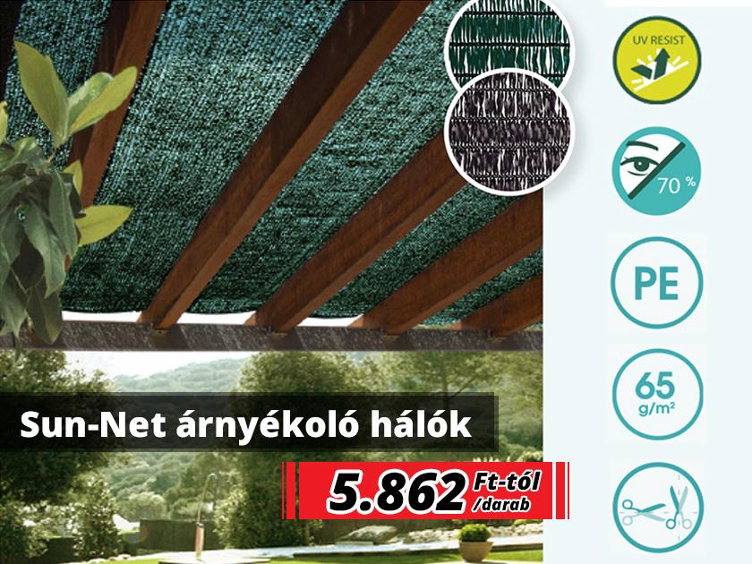 Sun-net árnyékoló hálók kerítésre, pergolára