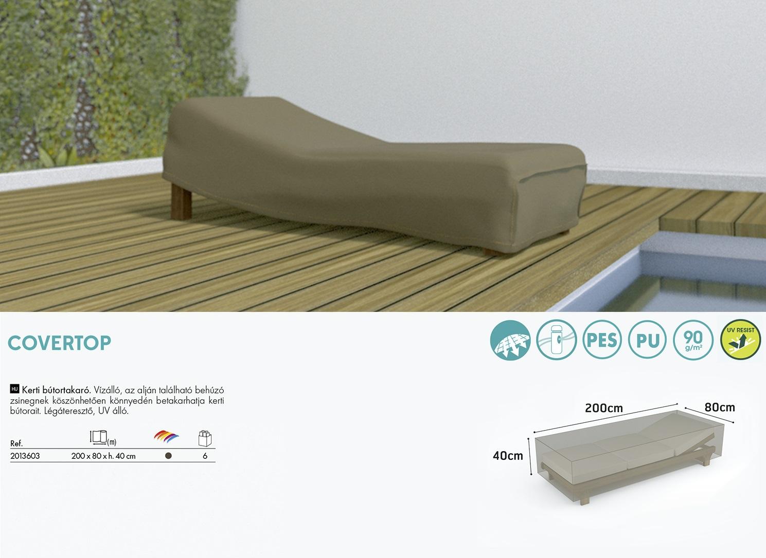 A Nortene Covertop nyugágy bútor huzat az átlagos méretű napozóágyakra megfelelő.