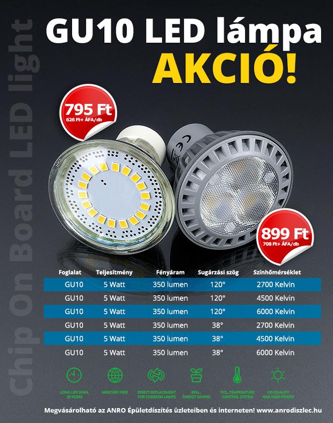 GU10-es foglalatú 5 Wattos LED lámpák 795 Ft és 899 Ft/darab áron!