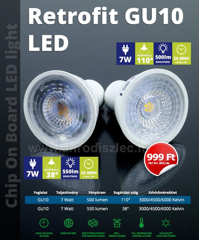 GU10-es foglalatú 7 Wattos LED lámpák bruttó 999 Ft/darabos kisker áron!