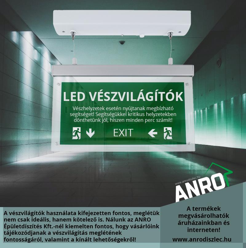 LED Vészvilágító lámpatestek