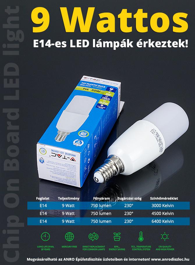 Nagy teljesítményű (9 Wattos) E14-es LED lámpák