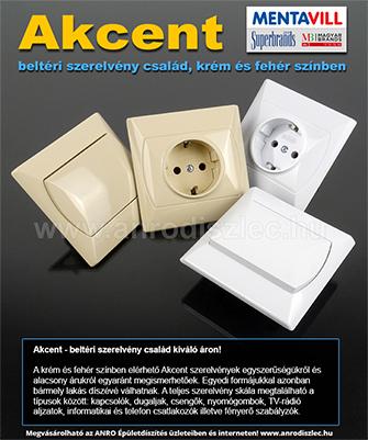 Mentavill Akcent szerelvény család - kapcsoló és konnektor választék